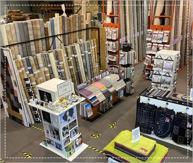 Stock display - carpets, rugs, vinyl flooring & ready made mats