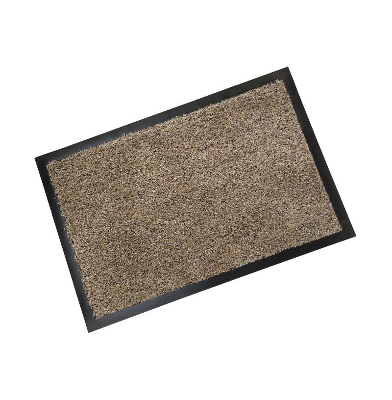 Rubber Border Cotton Wash Mat Latte Quality Doormats