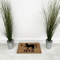 Braided Edge Doormat - Cat with Butterfly / Hiya