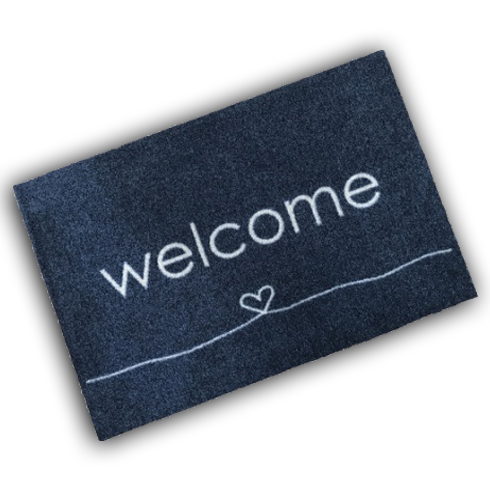 Decorative Wash Mat - Welcome Heart Anthracite