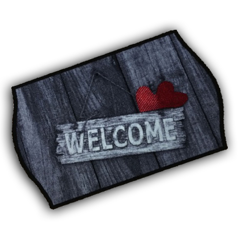 Decorative Wash Mat - Welcome Red Heart