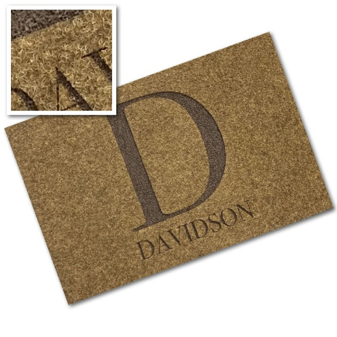 Engraved Synthetic Coir Mat - 'Big Initial'