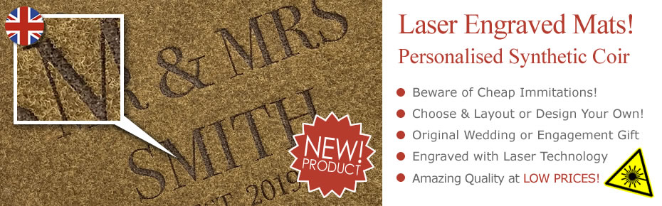 NEW - Laser Engraved Synthetic Coir Doormats